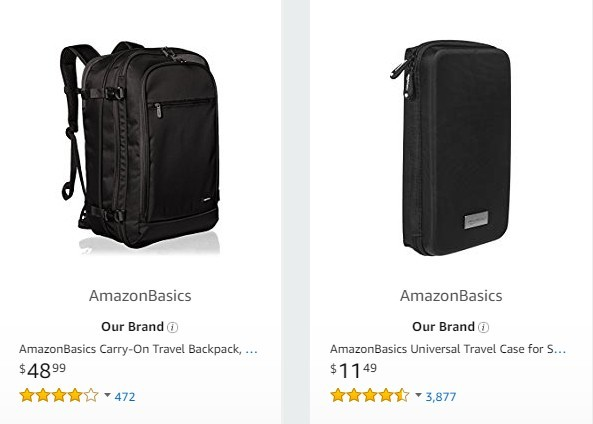 2 Black travel bags from Amazon