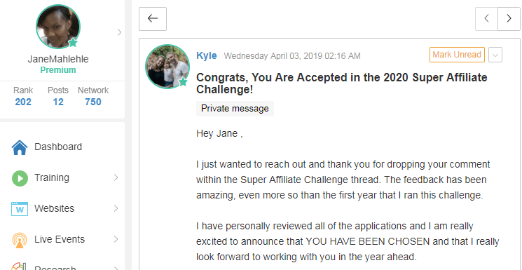 Private Message from Wealthy Affiliate Saying I made it to the 2020 Super Affiliate Challenge