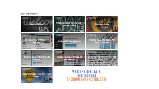 Wealthy Affiliate Online Entrepreneurship Certification Lessons