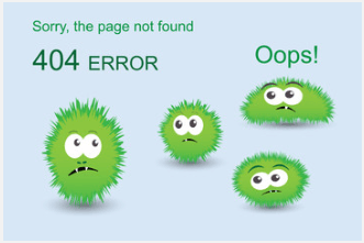 Funny 404 error message depicted by disappointed green little monsters