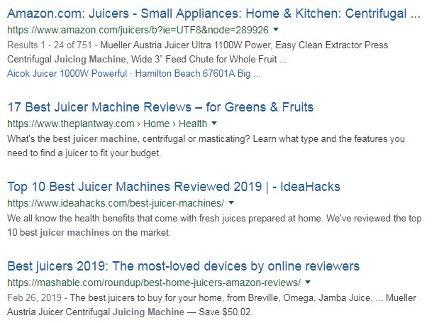 Google results on 'Juicer Machine
