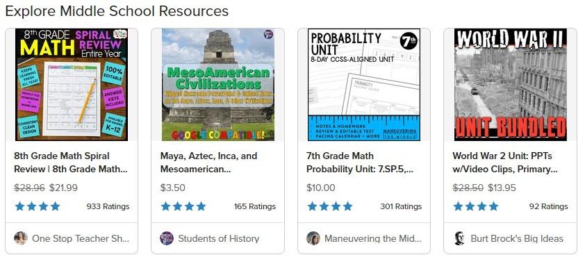 Middle School Teaching Aids Displayed on Teachers Pay Teachers website