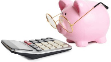 Pink Piggy Bank Wearing reading glasses, looking at calculator screen