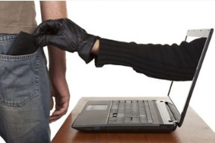 Is Affiliate Marketing A Scam - Thief Hand Sticking Out Of Laptop Screen, Steal Man's Wallet