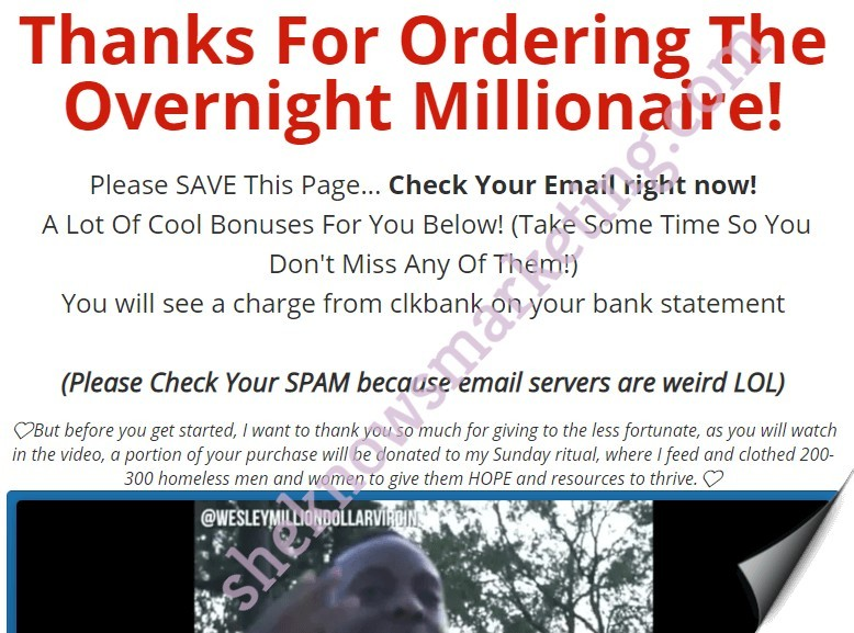 Overnight Millionaire Mind Hacks Purchase Verification